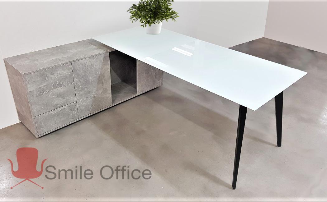 סט SLANT GLASS </br> שולחן מנהלים מודרני